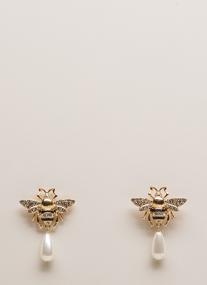 Buzzing Bees Jeweled Faux Pearl Earrings GOLD