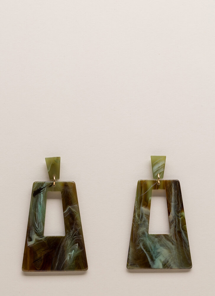 Disco Party Marbled Cut-Out Earrings GREEN