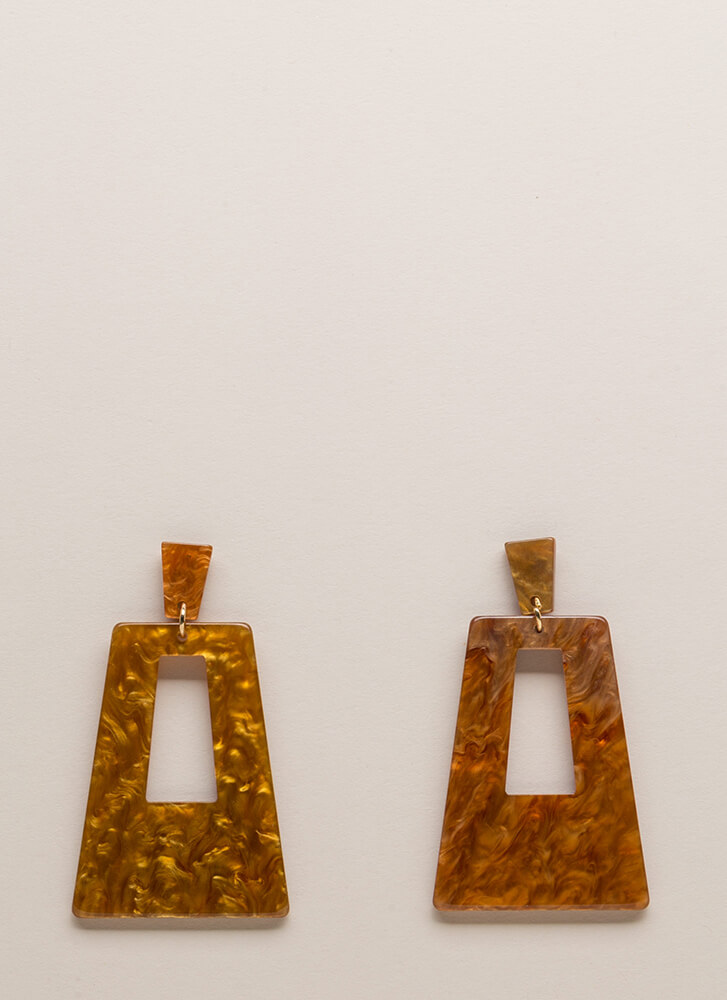 Disco Party Marbled Cut-Out Earrings MUSTARD