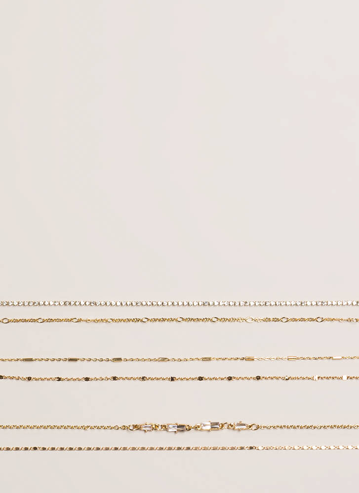 Jewels And Chains 6-Piece Choker Set GOLD