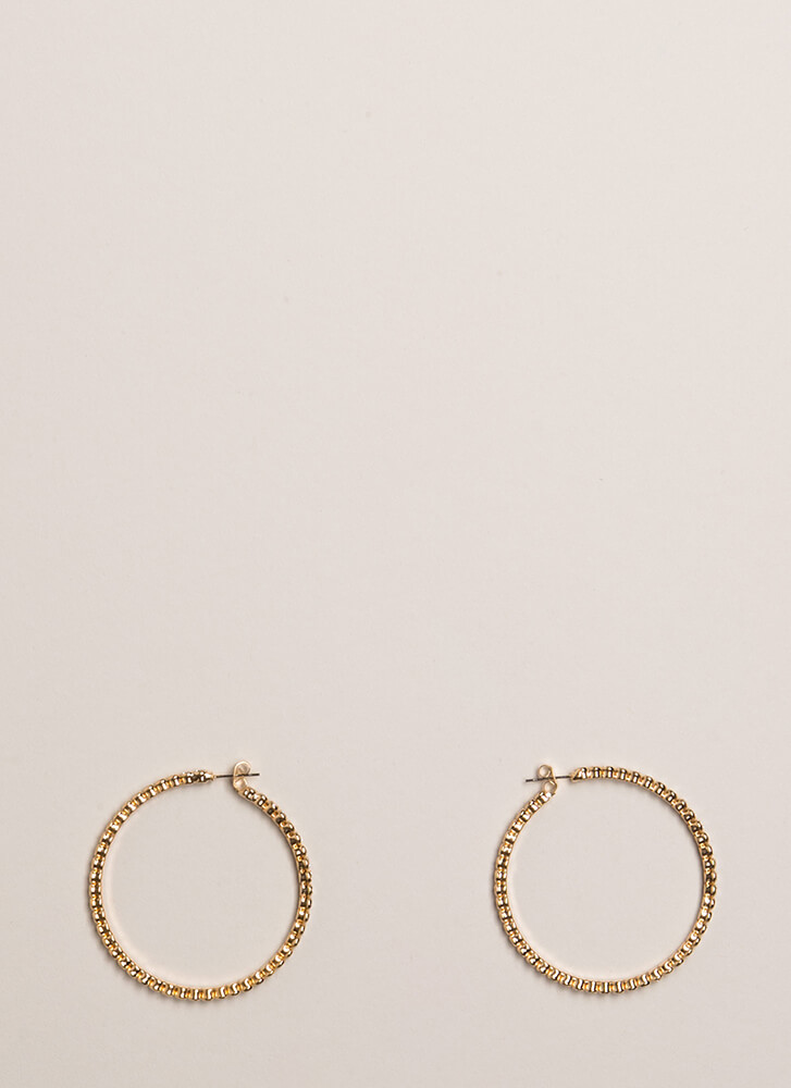 Necessity Rhinestone Hoop Earrings GOLD