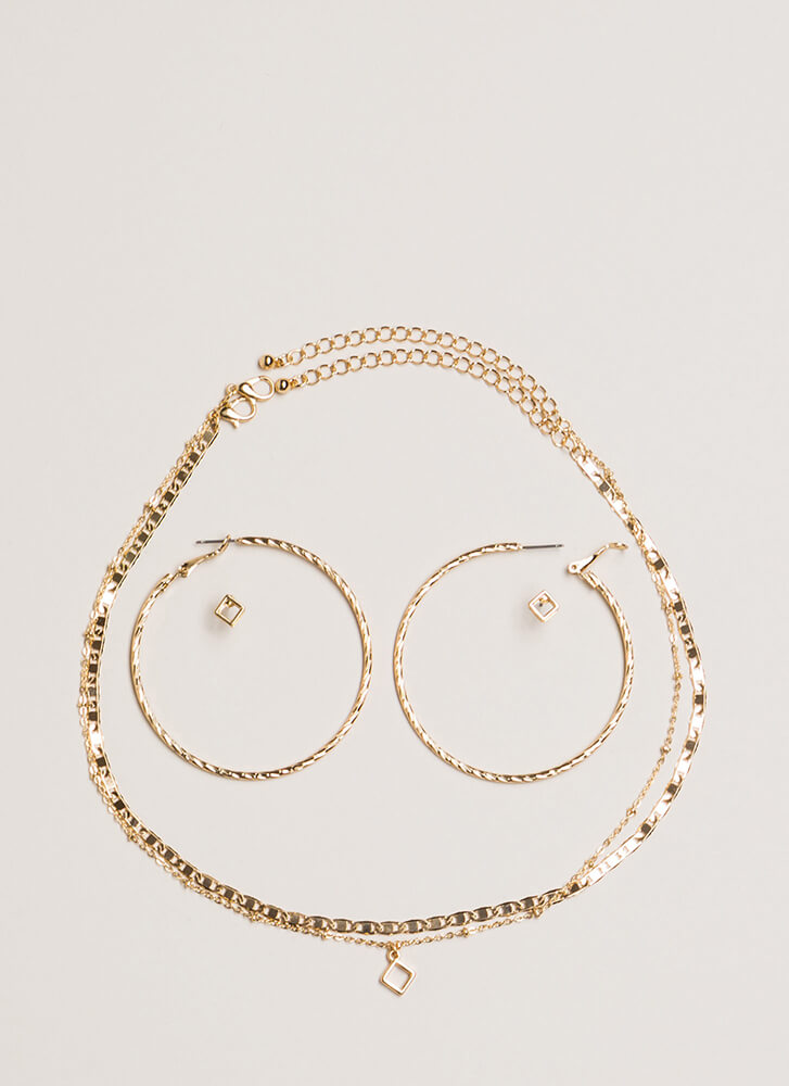 Two Good Chain Necklace And Earring Set GOLD