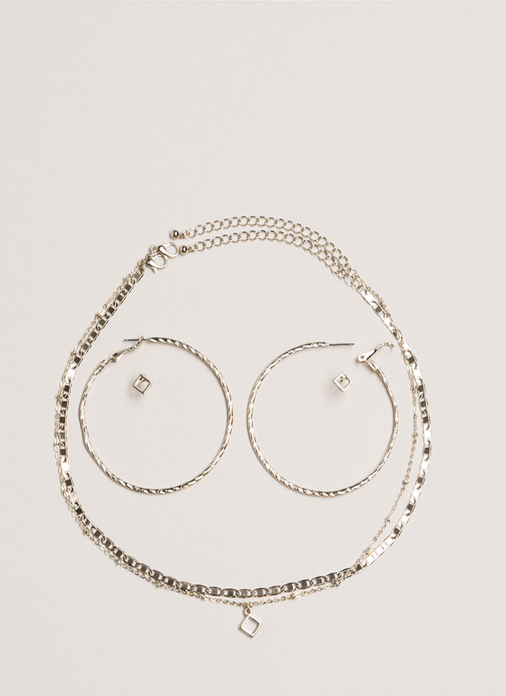 Two Good Chain Necklace And Earring Set SILVER