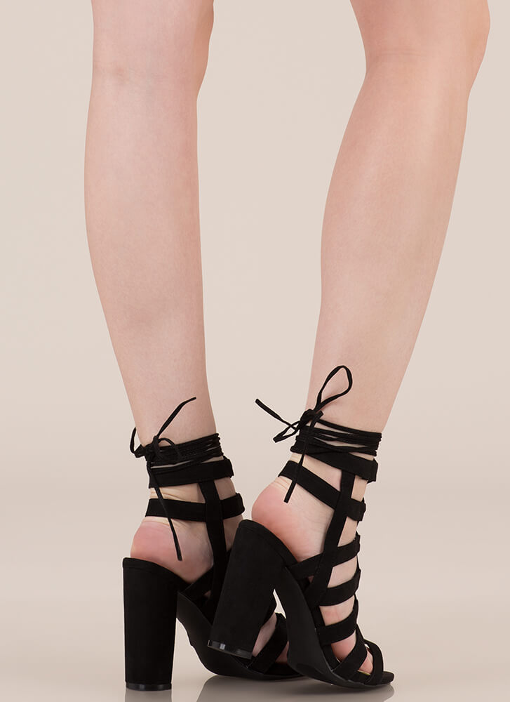 Strappy Ever After Lace-Up Caged Heels BLACK