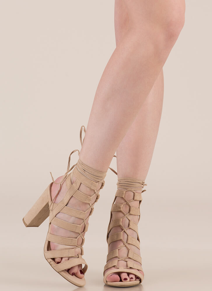 Strappy Ever After Lace-Up Caged Heels NATURAL