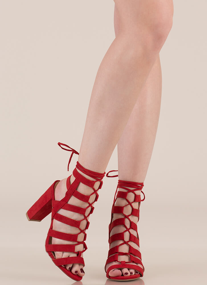 Strappy Ever After Lace-Up Caged Heels RED