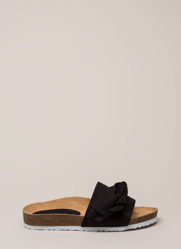 Wherever You Bow Platform Slide Sandals BLACK