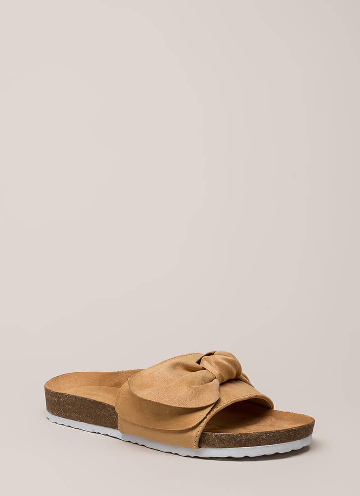 Wherever You Bow Platform Slide Sandals NUDE