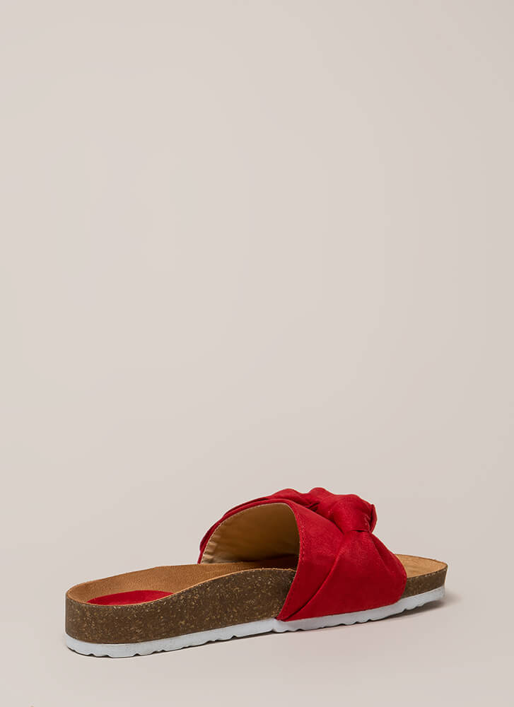 Wherever You Bow Platform Slide Sandals RED