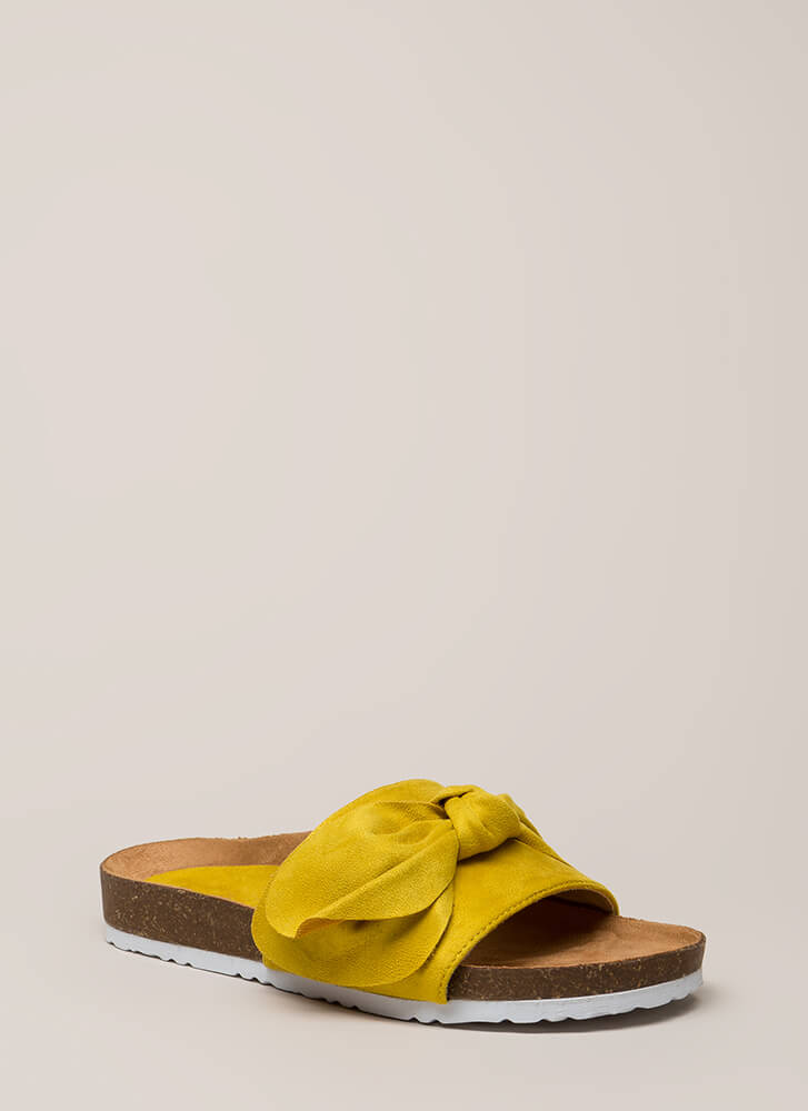 Wherever You Bow Platform Slide Sandals YELLOW