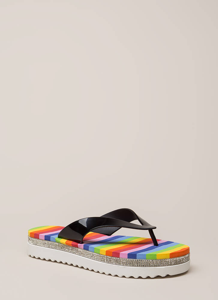 My Rainbow Jeweled Platform Sandals BLACK