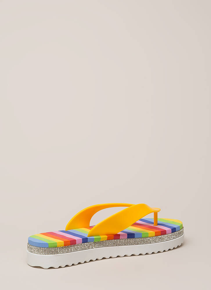 My Rainbow Jeweled Platform Sandals YELLOW