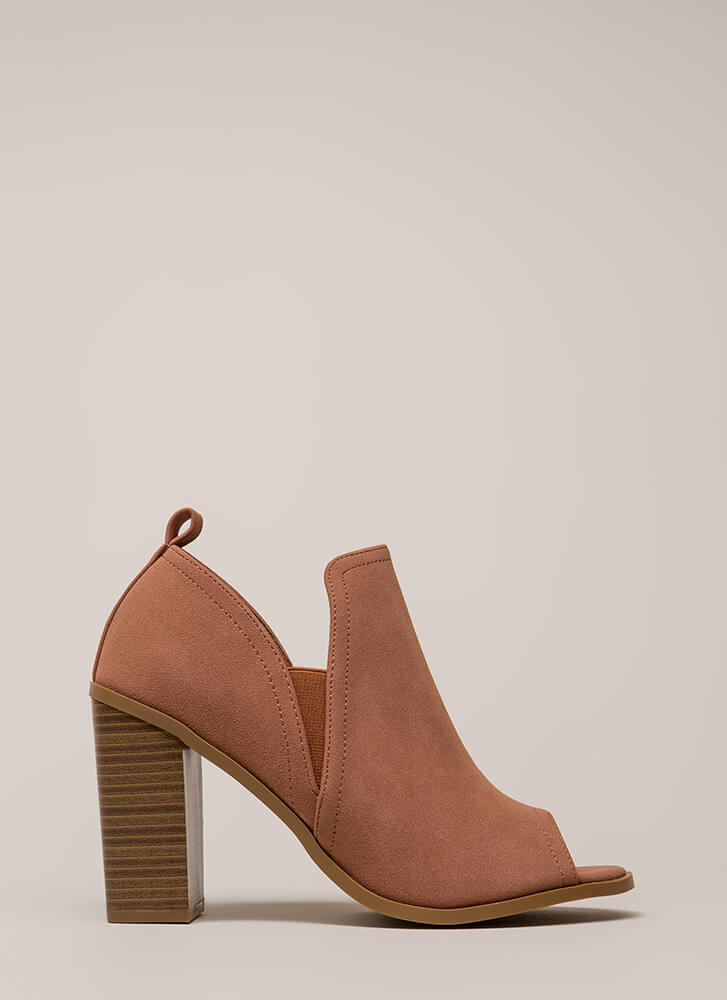 Out And About Chunky Peep-Toe Heels MAUVE