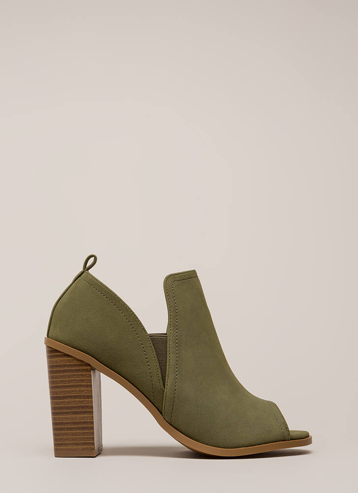 Out And About Chunky Peep-Toe Heels OLIVE