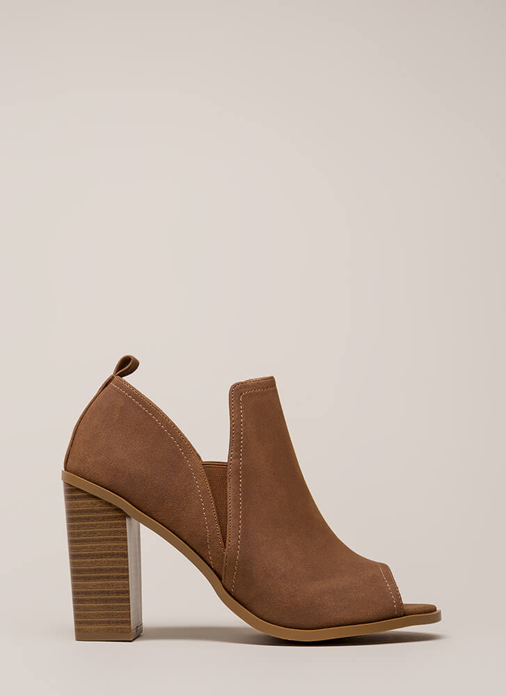 Out And About Chunky Peep-Toe Heels TAUPE