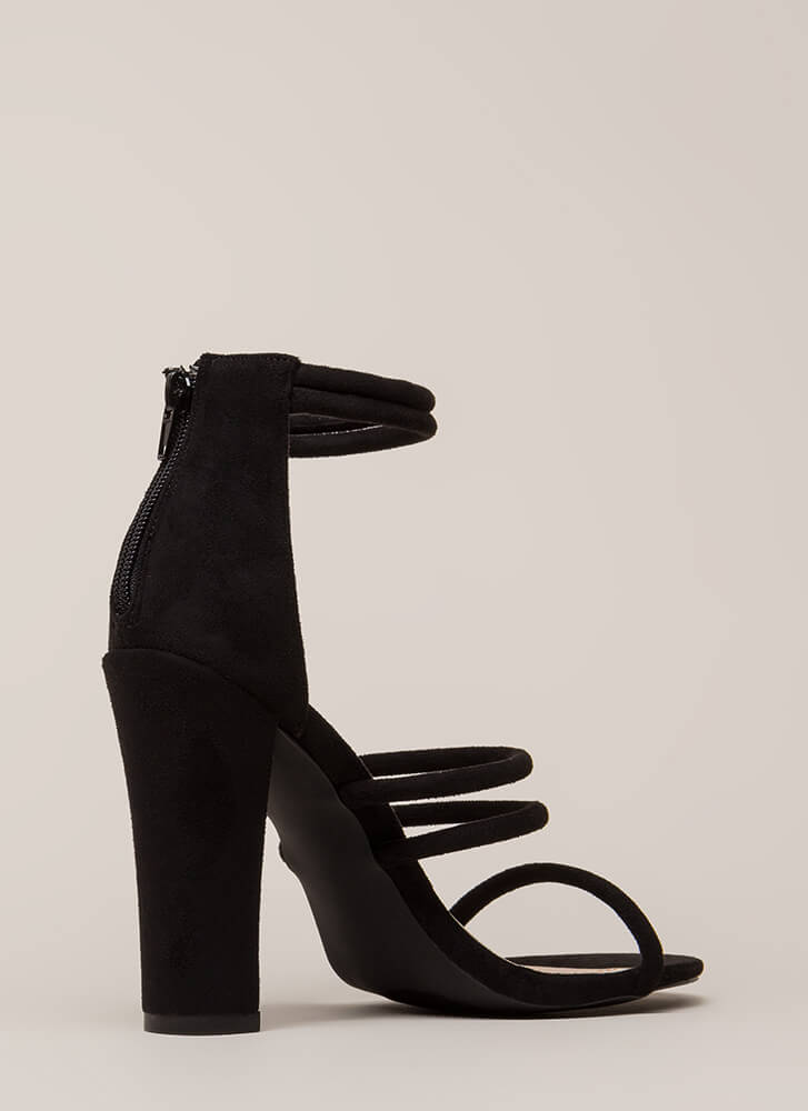 My Strappy Ending Chunky Heels BLACK