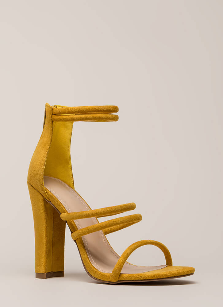 My Strappy Ending Chunky Heels MUSTARD