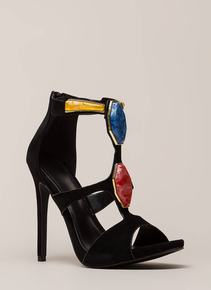 Hunt For Treasure Cut-Out Heels BLACK