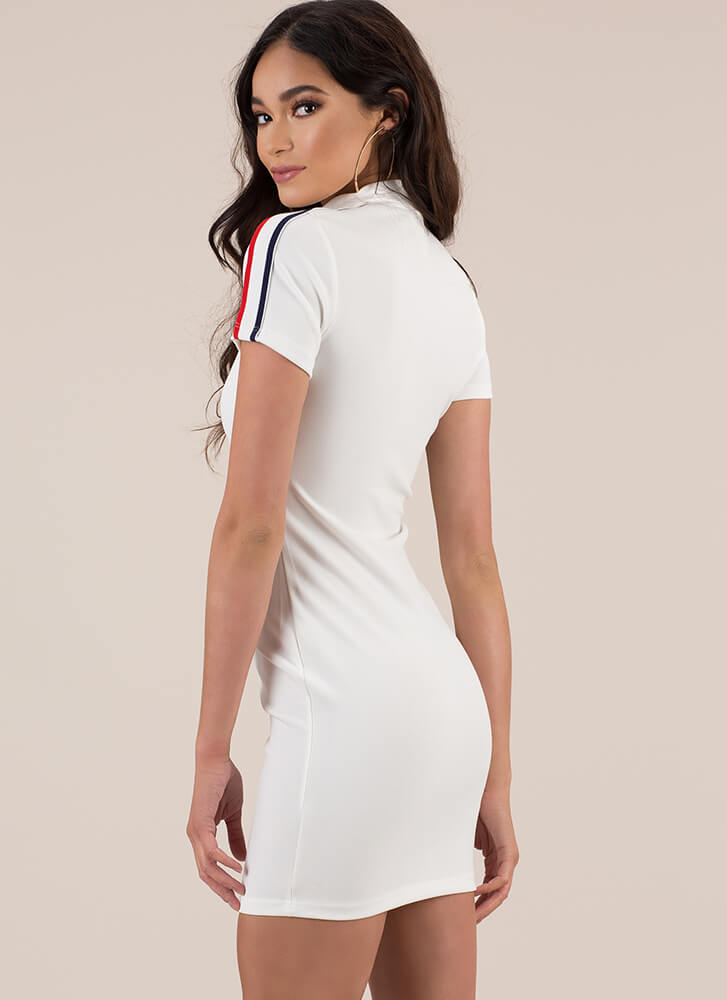 Captain Speaking Striped Zip-Front Dress WHITE