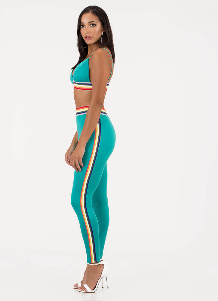 Rainbow Mood Striped Top And Pant Set TURQUOISE