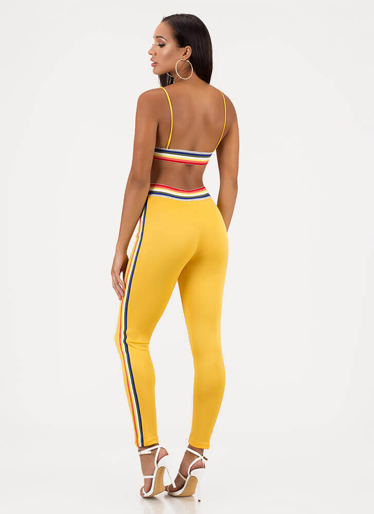 Rainbow Mood Striped Top And Pant Set YELLOW