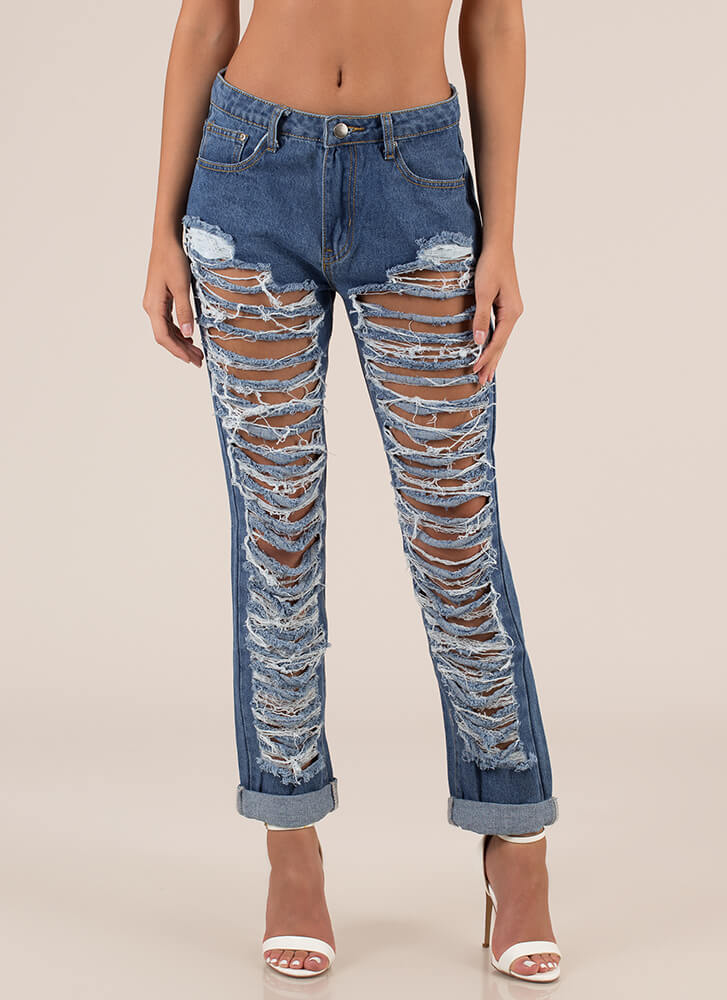 Totally Ripped Destroyed Boyfriend Jeans BLUE