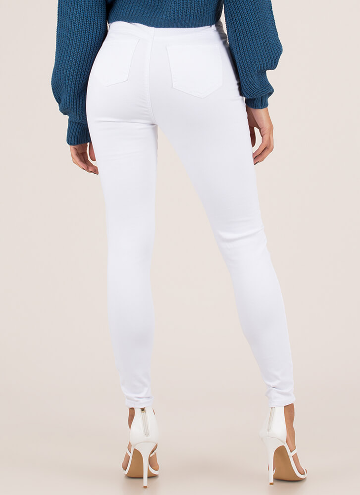 New Threads Destroyed Denim Skinny Jeans WHITE