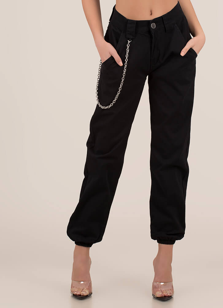 Chain Reactions Cotton Joggers BLACK