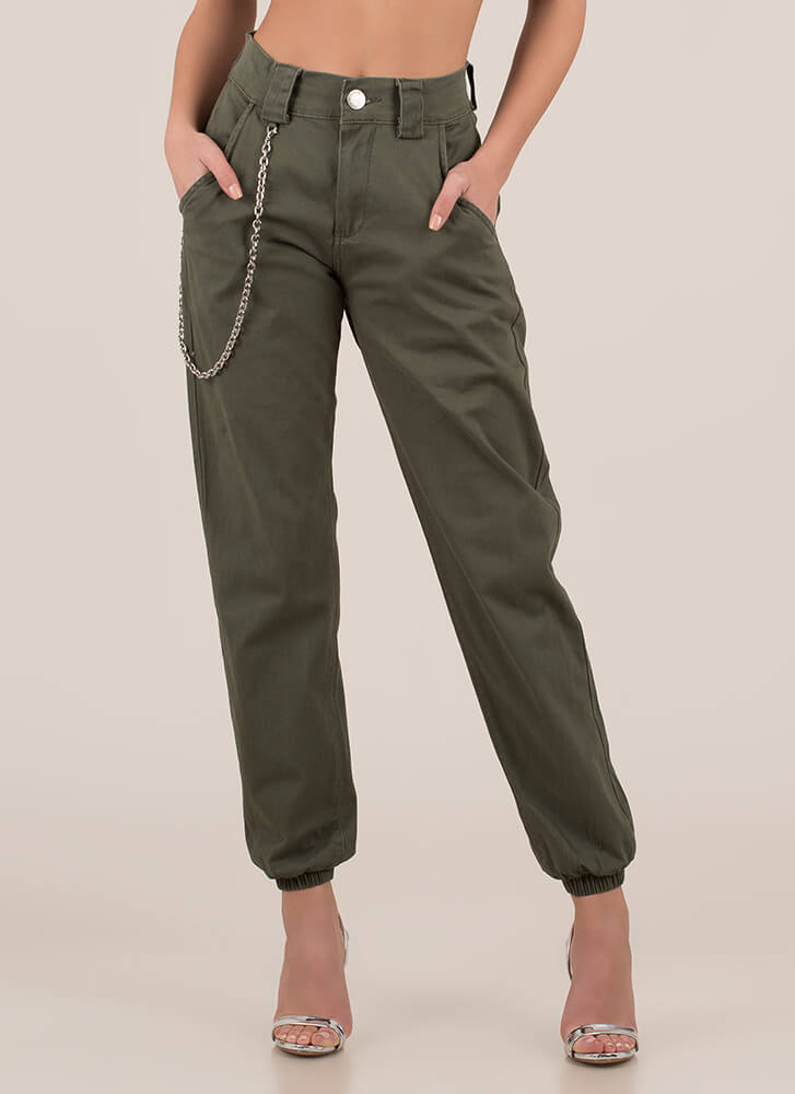 Chain Reactions Cotton Joggers OLIVE