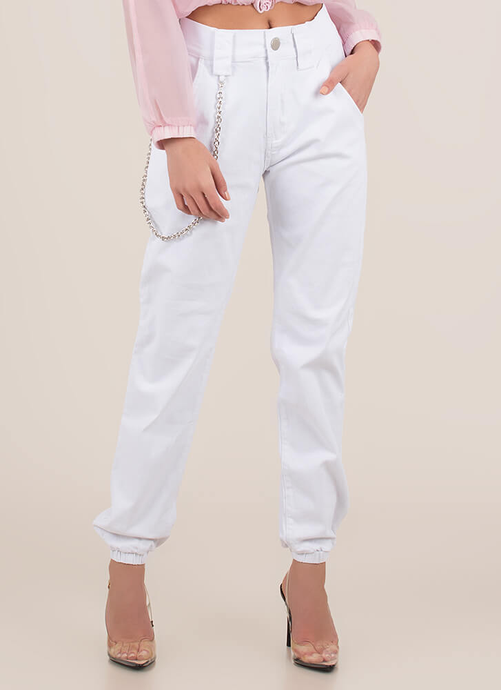 Chain Reactions Cotton Joggers WHITE
