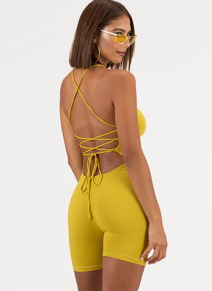 Take My Turn Lace-Back Romper CHARTREUSE