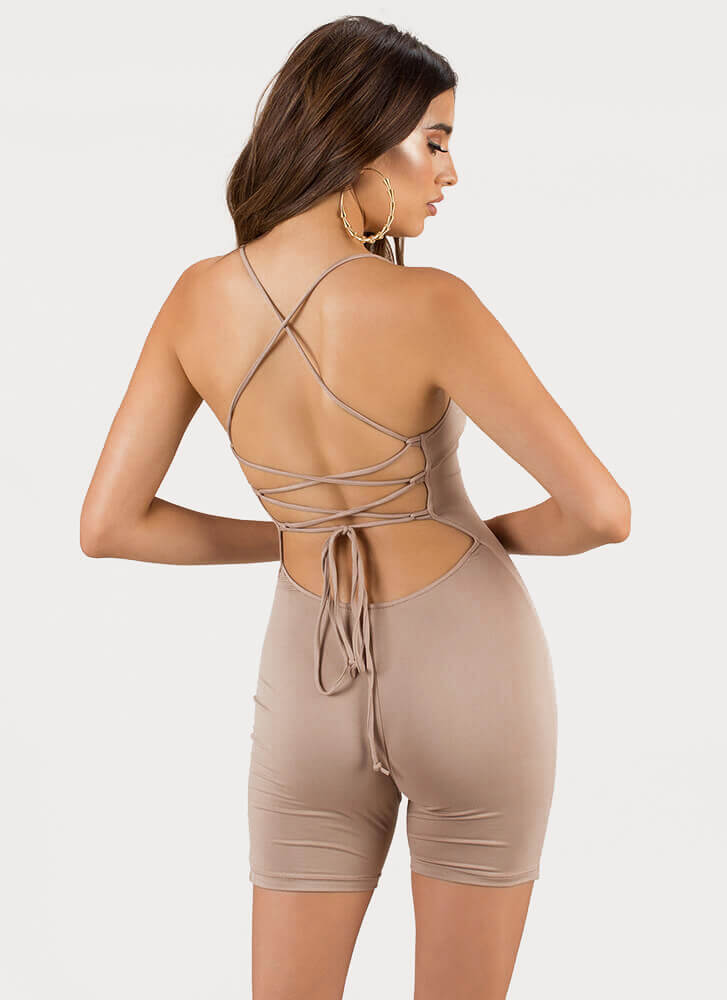 Take My Turn Lace-Back Romper KHAKI