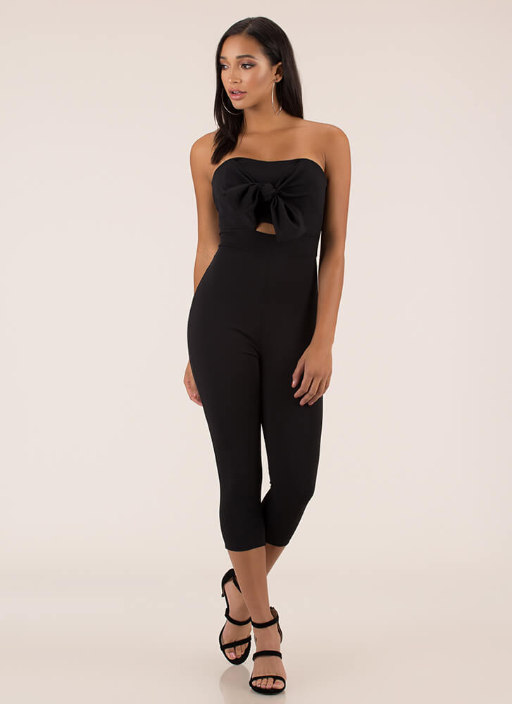 Gifted Strapless Bow-Front Jumpsuit BLACK