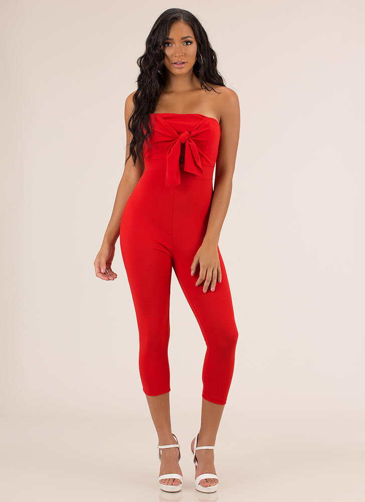 Gifted Strapless Bow-Front Jumpsuit RED
