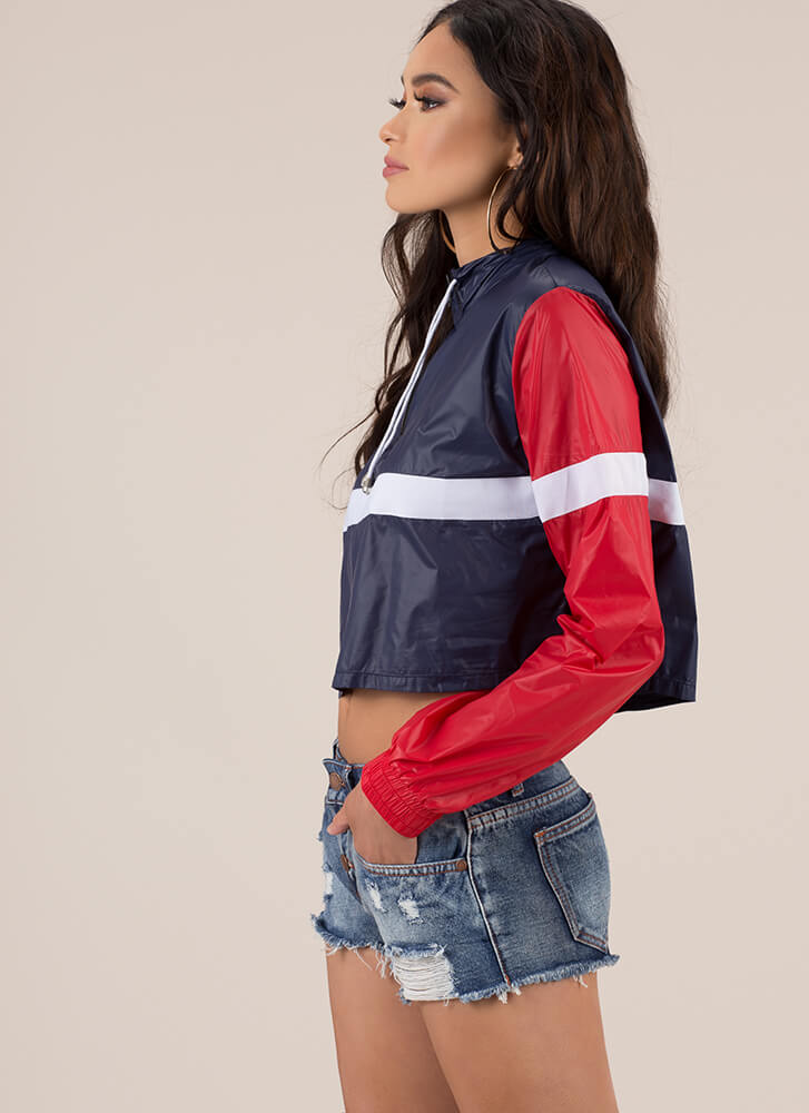 Stay Cool Cropped Colorblock Windbreaker NAVYRED