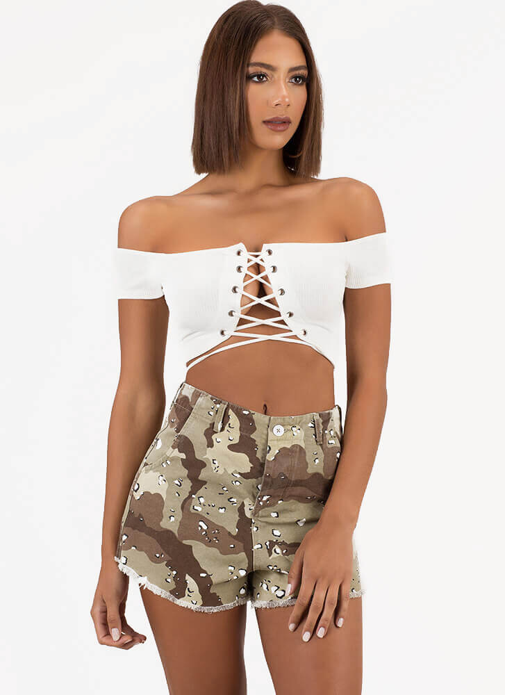 Lace Me Up Off-Shoulder Crop Top WHITE (You Saved $15)