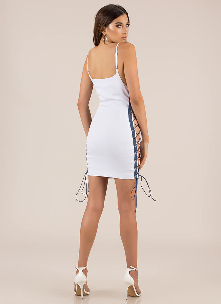 Girl On The Sides Lace-Up Dress WHITE