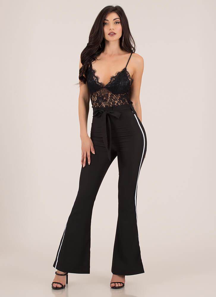 Both Worlds Bell-Bottom Lace Jumpsuit BLACK