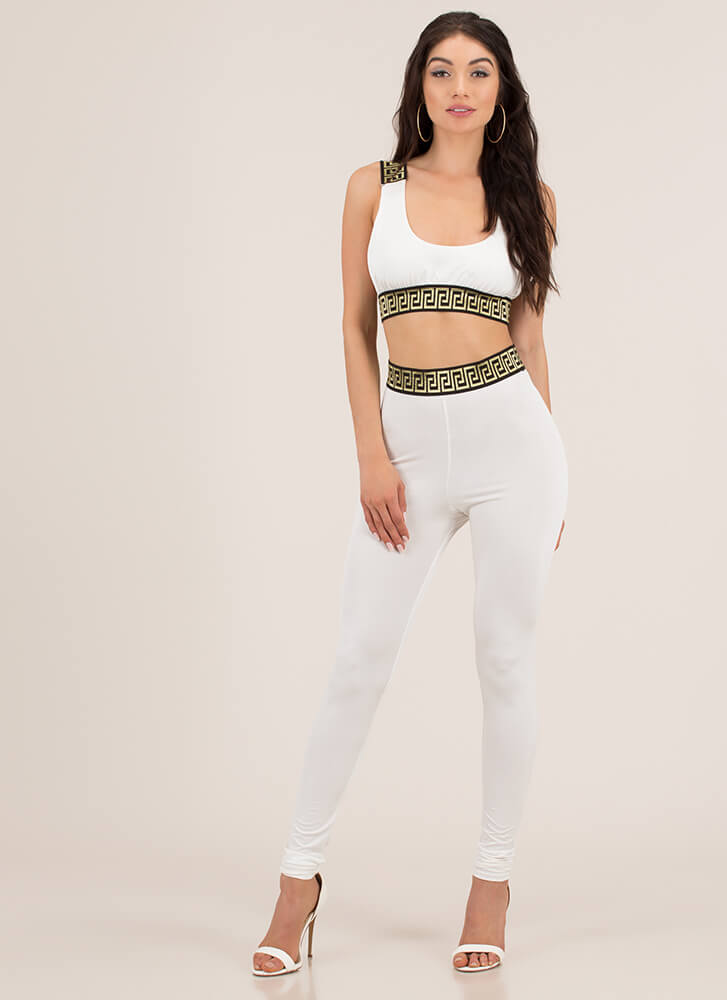 Greek Vacation Top And Legging Set WHITE (You Saved $26)
