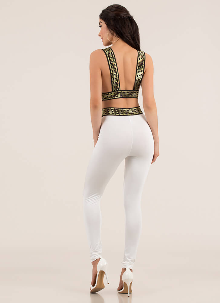 Greek Vacation Top And Legging Set WHITE