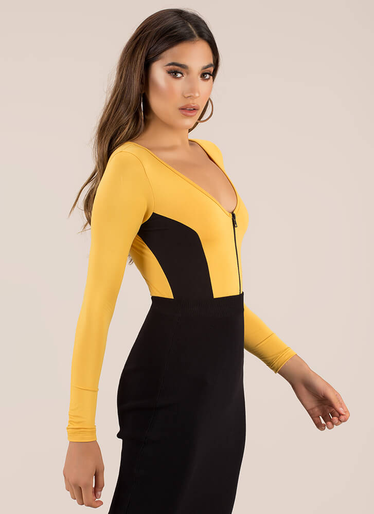 Two Kinds Of People Colorblock Bodysuit MUSTARD