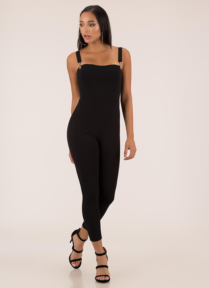 Number One Overall Strappy Jumpsuit BLACK