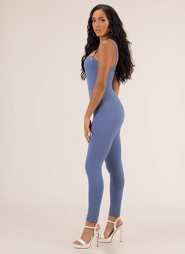 Number One Overall Strappy Jumpsuit BLUE