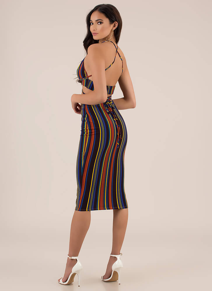 The Game Is Tied Striped 2-Piece Dress MULTI