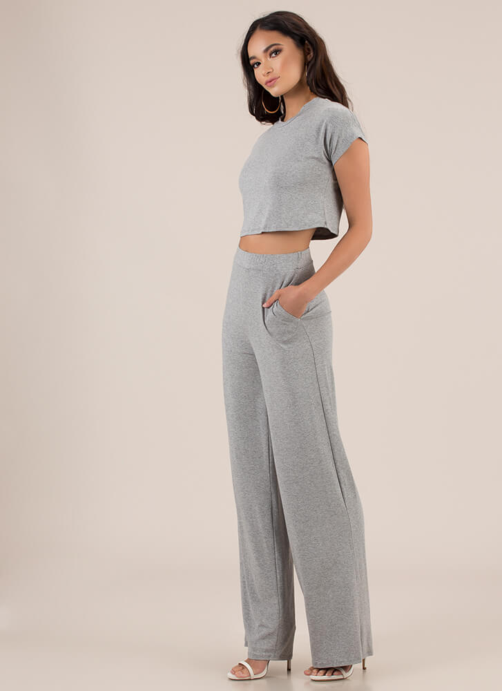 My Comfort Zone Top And Pant Set GREY