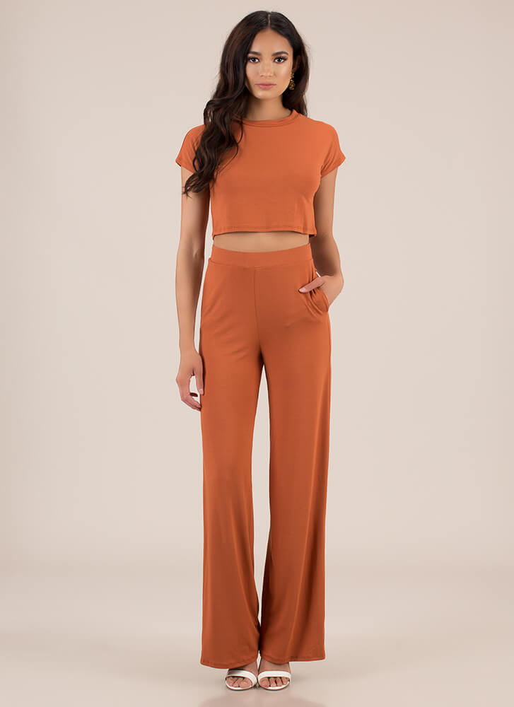 My Comfort Zone Top And Pant Set RUST