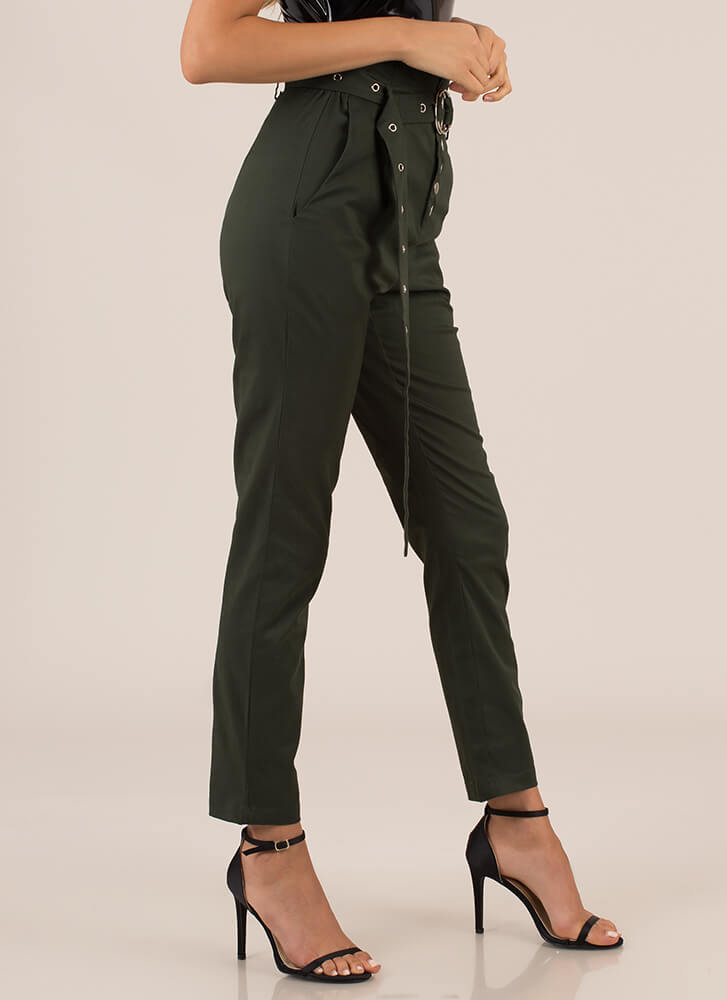 Wear The Pants High-Waisted Trousers HUNTERGREEN