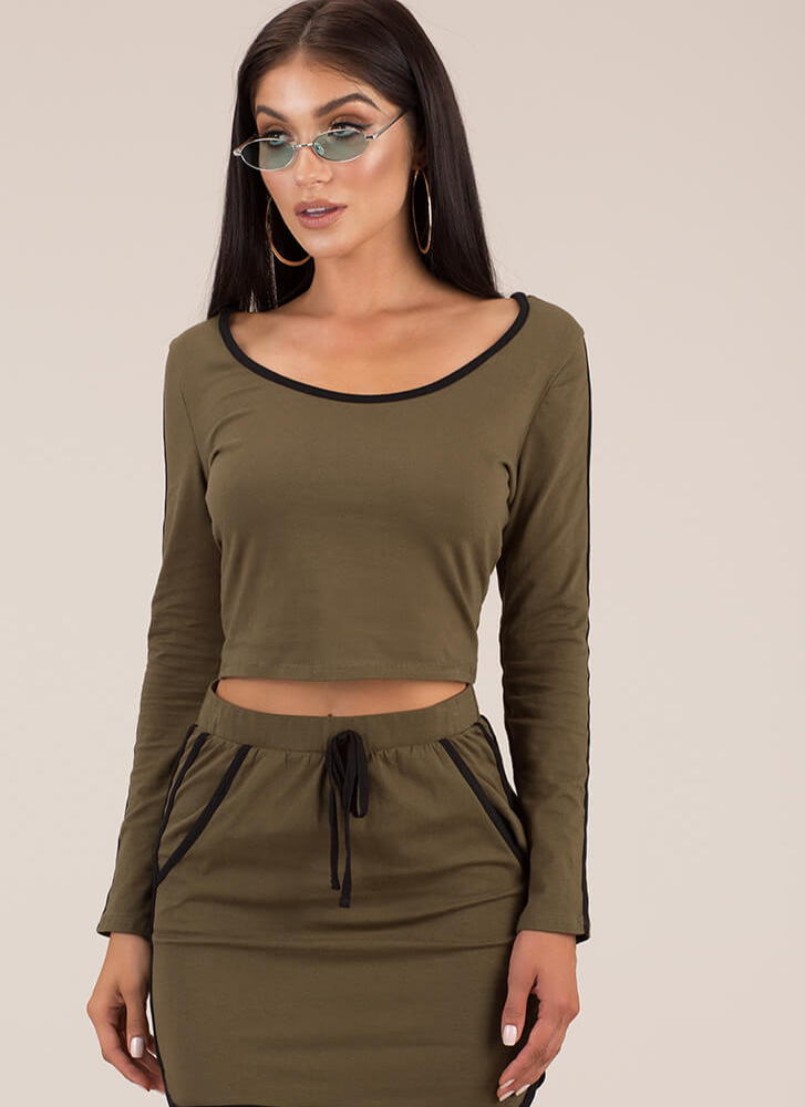 Sporty In Stripes Hooded Crop Top OLIVE