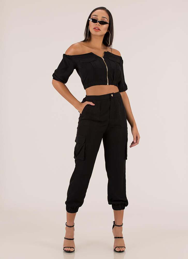 Precious Cargo Top And Jogger Set BLACK