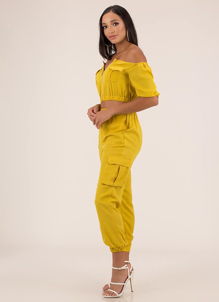 Precious Cargo Top And Jogger Set MUSTARD